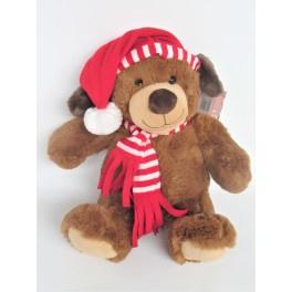 6 x Pluche hond met kerstmuts en sjaal 30 cm