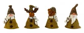 6 x Set van 4 stuks - Kerstfiguren in jute optiek - H=6,5cm  KE2100
