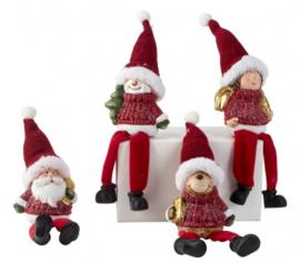 2 x set van 4 stuks - Kerstfiguren met bungelbenen H=21cm -  KD0225