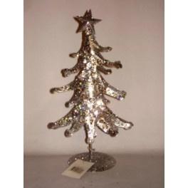10 x Kerstboom zilver 27 cm met ster