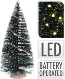 12 x Mini kerstboom met led lampjes - 2 stuks per set - H=15 cm - B/O