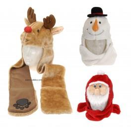 12 x Kerstmuts met handwarmers Rendier / Sneeuwman