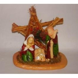 2 x Kerstkrib + 2 figuren op steen