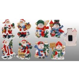 24 x Magneet Kerstman / Sneeuwman 8 ass.