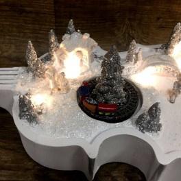 2 x Viool Wit met kerstdorp - licht en beweging - B / O