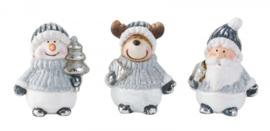 4 x set van 3 stuks - kerstbeeldjes Kerstman , Sneeuwman , Rendier - H=7-8cm  KE5020