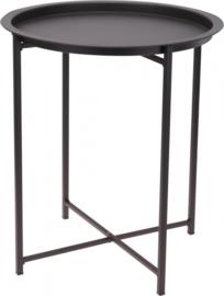 6 x Bijzettafel - Plantentafel - Oppottafel - 46cm - rond - staal - mat donkergrijs - HD0100