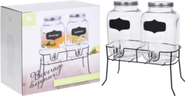 2 x Drankdispenser van glas - set van 2 stuks - HE0020