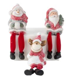 6 x Kerstbeeldjes met bungelbenen 3ass H=17cm  KD0230