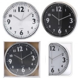 12 x Wandklok - Keukenklok - Rond - 20 cm - 2 kleuren zilver