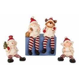 8 x Kerstfiguur met bungelbenenh 15 cm 4 ass.