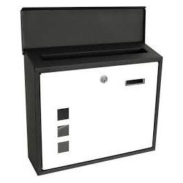 3 x Metalen brievenbus met venster zwart / wit