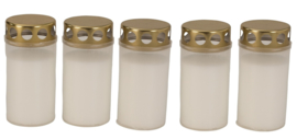 4 x 5 graflichtjes wit met gouden deksel - H=12cm D=5,8cm  CC8010