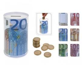 48 x Spaarpotten van blik met euro biljet afbeeldingen 6ass.