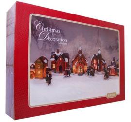 4 x Dorp met verlichting 9dlg. incl. 4 kerstfiguren