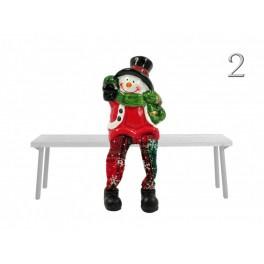 6 x Sneeuwman / Kerstman met bungelbenen h 14,5 cm  KD0210