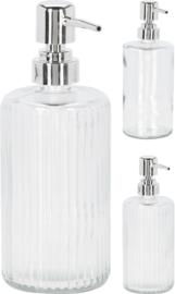 12 x Glazen Zeeppompjes / Zeepdispensers  400ML met verchroomd pompje - CC2300