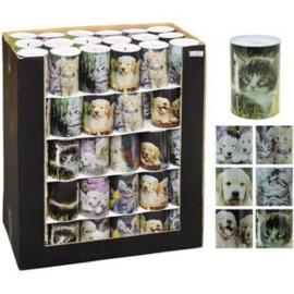 Spaarpot blik Hond / Kat 6 ass. 10 x 15 cm 90 stuks