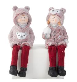 4 x set van 2 - Winterkinderen met bungelbenen H=20cm