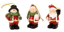 24 x Hangdeco kerstfiguren H=7cm 3ass  KE5074