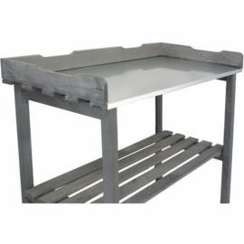 2 x Houten tuinwerktafel - Oppottafel met verzinkt werkblad - met opbergrek - Antraciet / grijs  HK0110