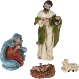6 x Kerstgroepje - Kerststalfiguren - Set van 4 stuks - Polyresin