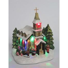 4 x Kerk met gekleurde lampjes B/O