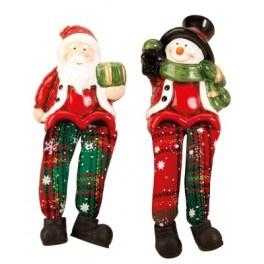 6 x Sneeuwman / Kerstman met bungelbenen h 14,5 cm