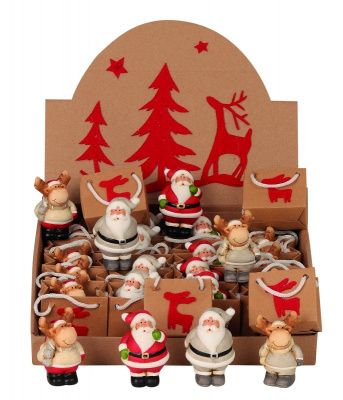 24 stuks Kerstfiguren 4ass in een tasje in displaydoos  KE2030