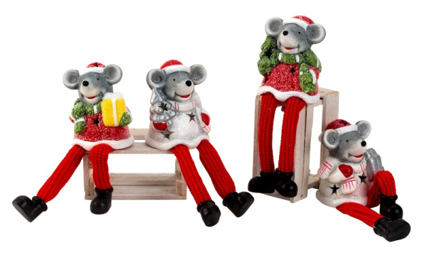 8 x Kerstmuizen met bungelbenen - H=16-17cm - Set van 4  KD0200