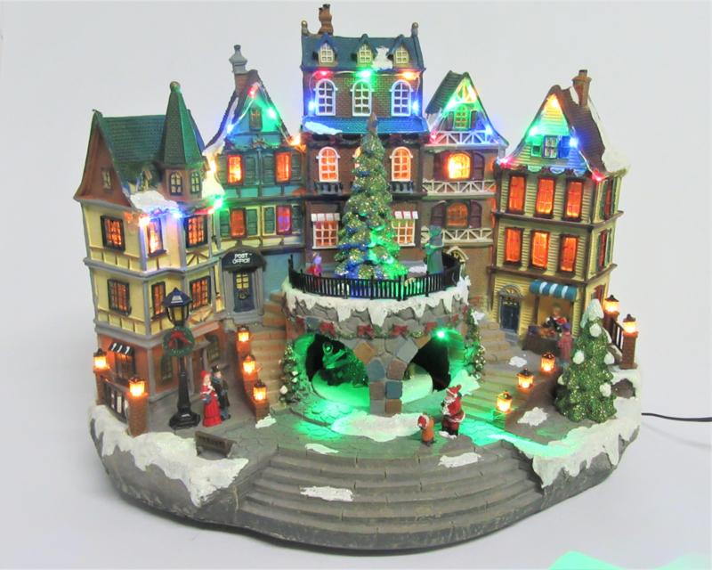 2 x Kerstdorp City Hall met led + Muziek  KH5030