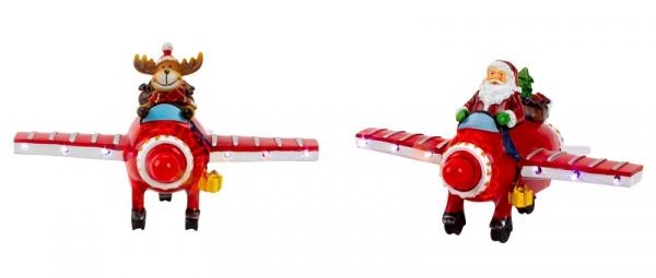 4 Vliegtuigen met Kerstman of Rendier - LED - Beweging - Tekstberichten  KD3110