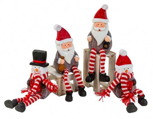 4 sets van 2 x Kerstmannen 2 x Sneeuwmannen met bungelbenen - H=18cm  KD0185