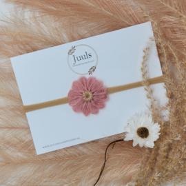 Haarbandje Wool Flower Oud roze