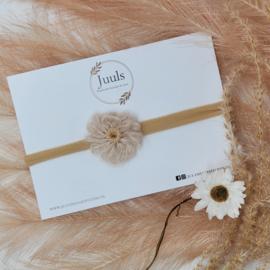Haarbandjes Wool Flower Crème