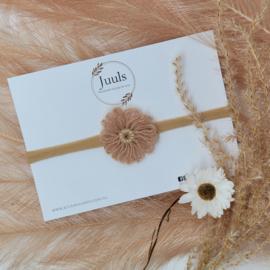 Haarbandje Wool Flower Beige