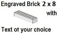 Custom Engrave Brick 2 x 8 White