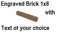 Custom Engrave Brick 1 x 8 Dark Tan
