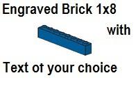 Custom Engrave Brick 1 x 8 Blue