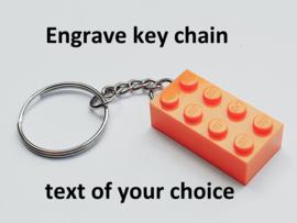 Orange Brick 2 x 4 Key Chain