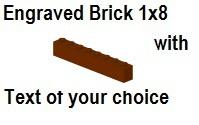 Custom Engrave Brick 1 x 8 Reddish Red