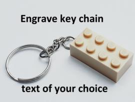 Tan Brick 2 x 4 key chain