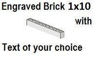 Custom Engrave Brick 1 x 10 White
