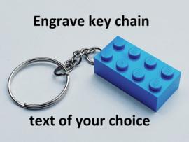 Medium Blue Brick 2 x 4 Key Chain