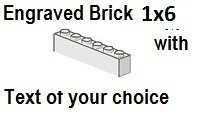 Custom Engrave Brick 1 x 6 White