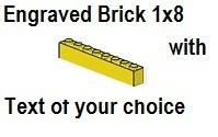 Custom Engrave  Brick 1 x 8 Yellow