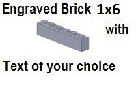 Custom Engrave Brick 1 x 6 Dark Bluish Gray