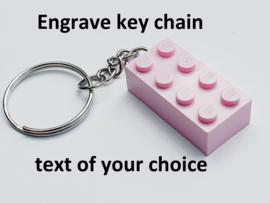 Pink Brick 2 x 4 key chain