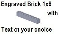 Custom Engrave Brick 1 x 8 Light Bluish Gray