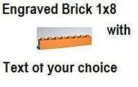 Custom Engrave Brick 1 x 8 Med Dark Flesh